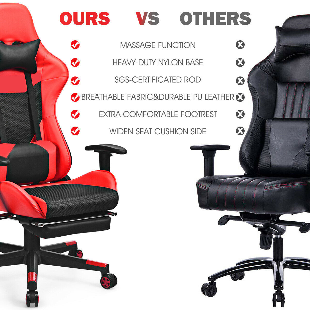 Massage Gaming Chair Reclining Racing Office Chair-Red