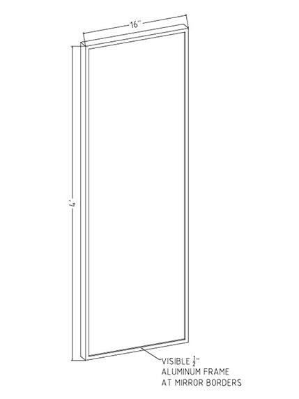 "16"" x 48"" x 1"" Hardcoat Physical Therapy Mirror"