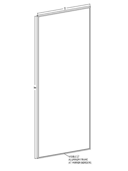 "36"" x 96"" x 1"" Hardcoat Wall Mount Mirror"