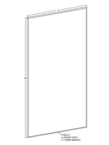 "48"" x 96"" x 1"" Hardcoat Wall Mount Mirror"