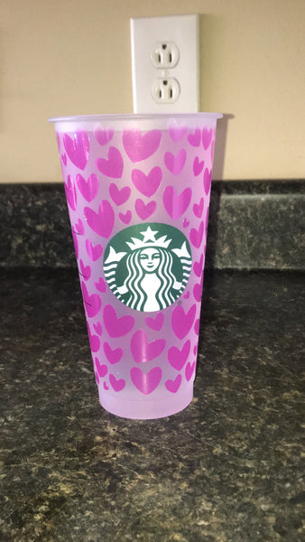 Pink Heart Color Changing Valentines Cold Cup