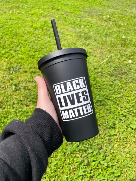 Black Lives Matter Matte Black Tumbler • Double Wall Insulated