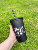 Nurse Life Matte Black Tumbler • Double Wall Insulated