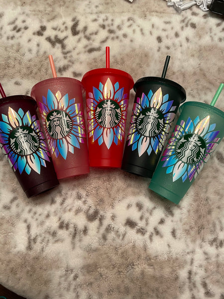 Limited Edition Holographic Sunflower Cold Cups