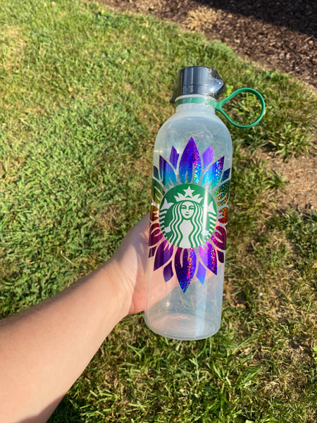 Rainbow sunflower water bottle