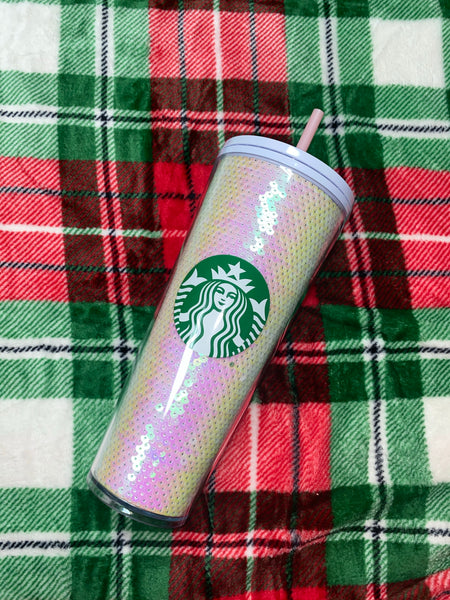 White Iridescent Sequin Starbucks Limited Edition Holiday 2020 Tumbler