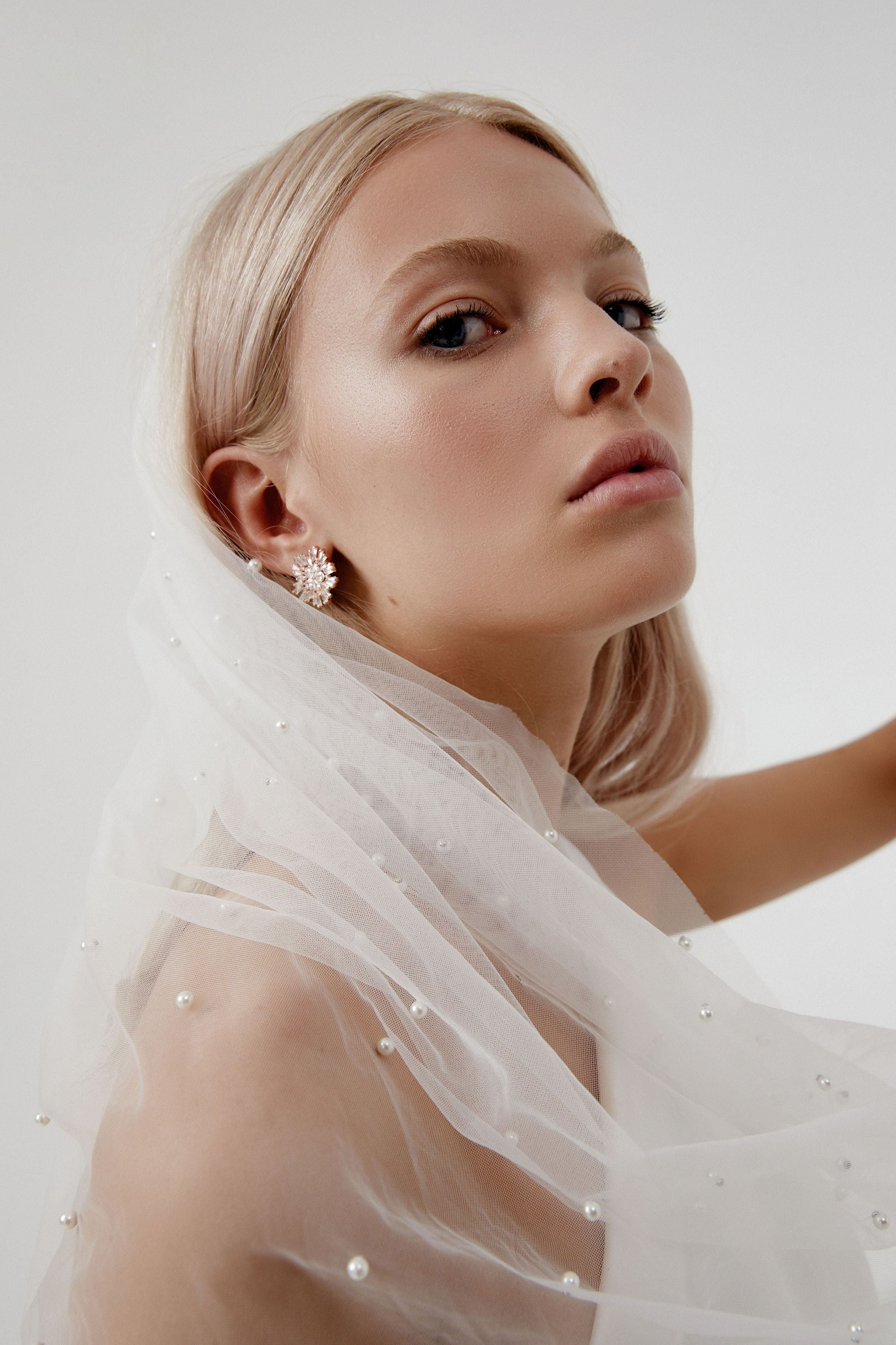 Bridal Earrings online Australia with vclip detachable veil for Amelie George bridal campaign 2020