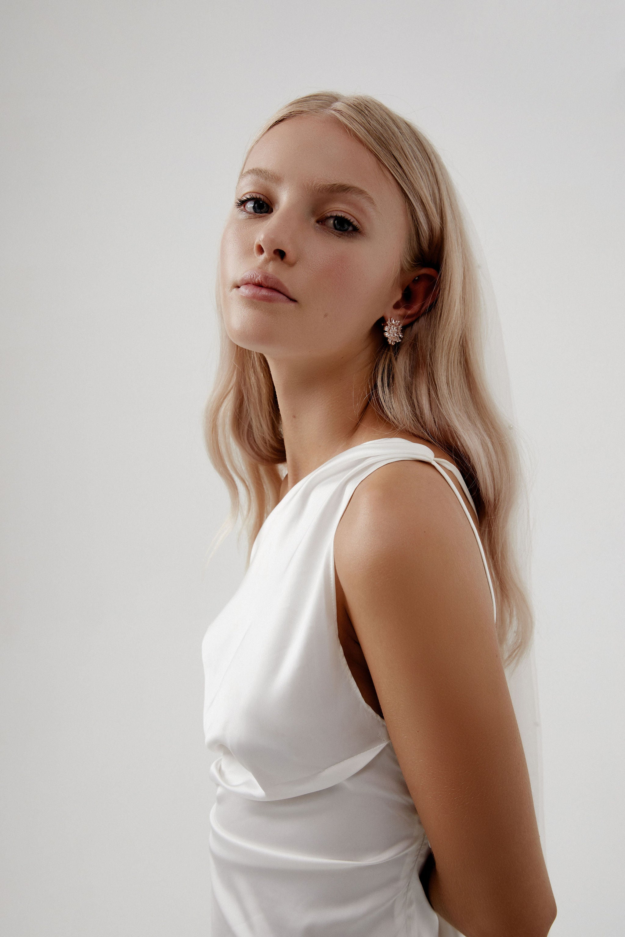 Bridal Floral Earrings for Amelie George bridal campaign 2020