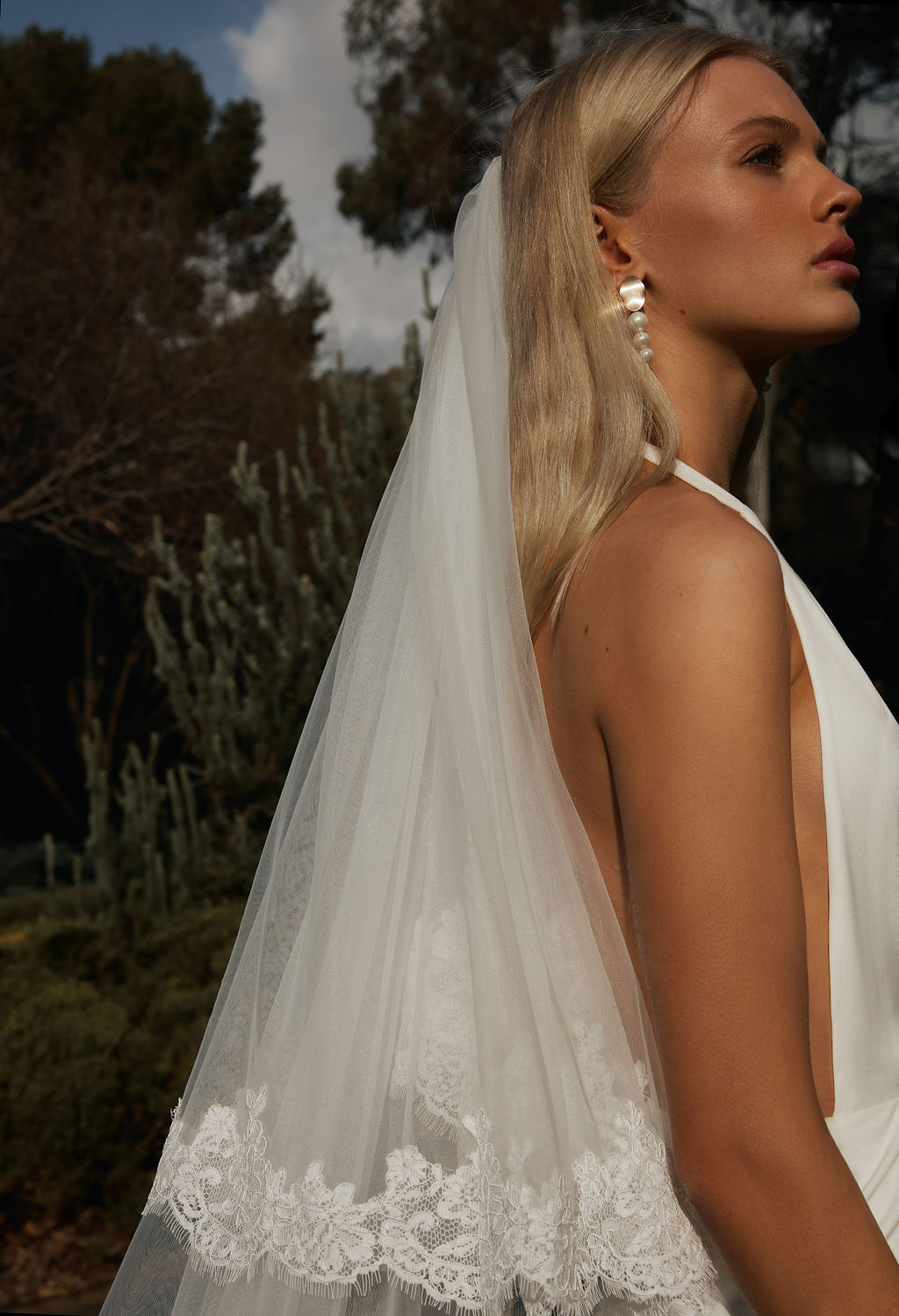 Gigi-Gold-Pearl-Drop-statement-earrings-with-Lace-Blusher-Veil-by-Amelie-George-Bridal-Modern-Wedding-for-2021-campaign