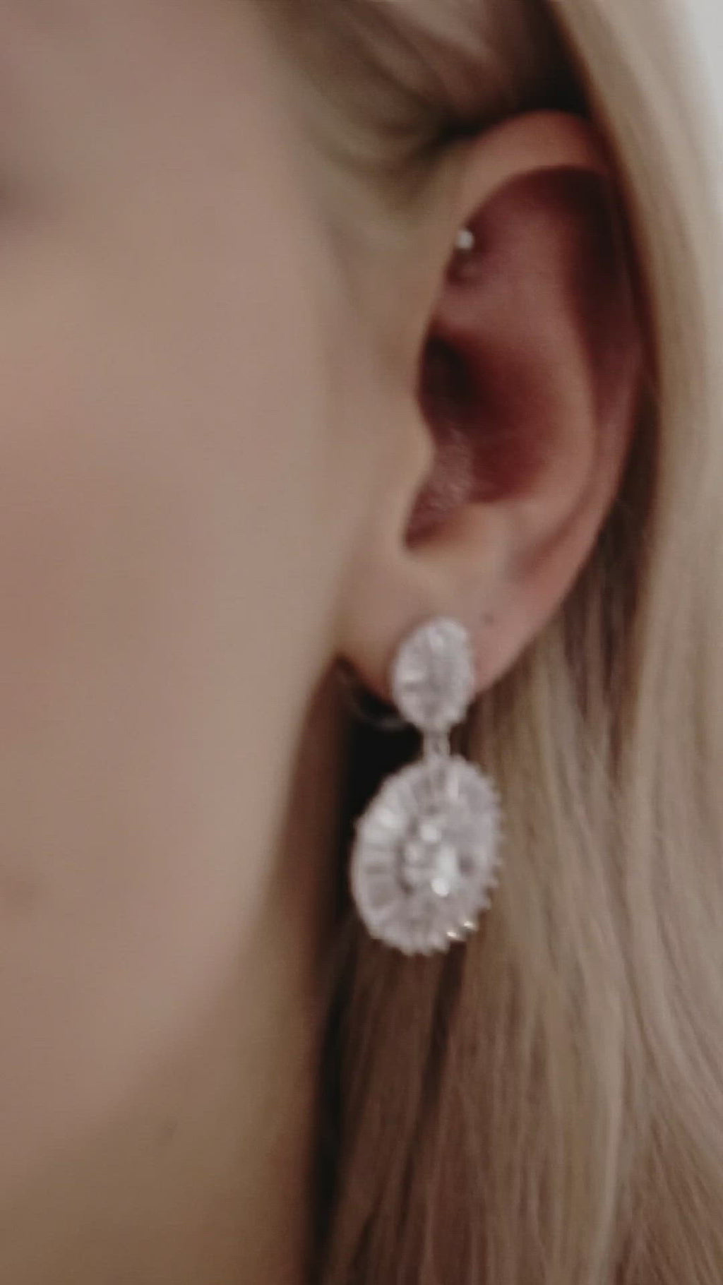 Diamond Drop Wedding Earrings by Amelie George Bridal