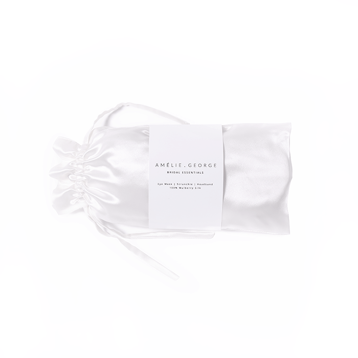 BRIDAL ESSENTIALS SILK PACK - IVORY - 100% Mulberry Silk - Eyemask, Headband, Scrunchie
