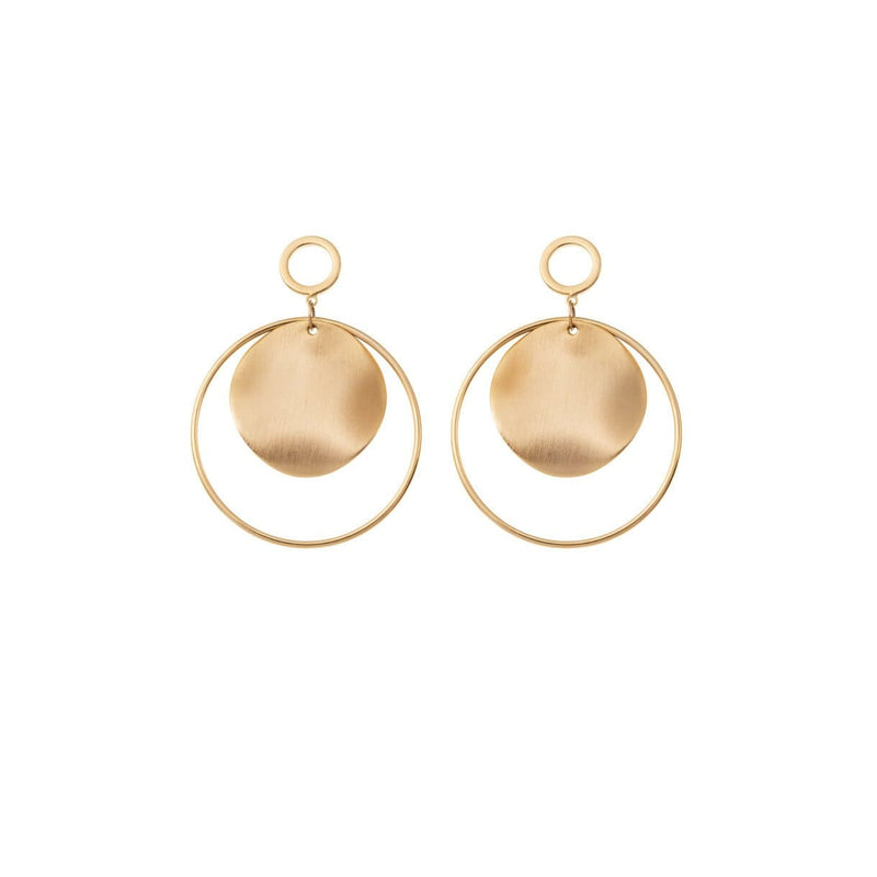 Statement wedding earrings for a bold, fun bridal look with delicate hoops adorning our signature brushed gold disc.