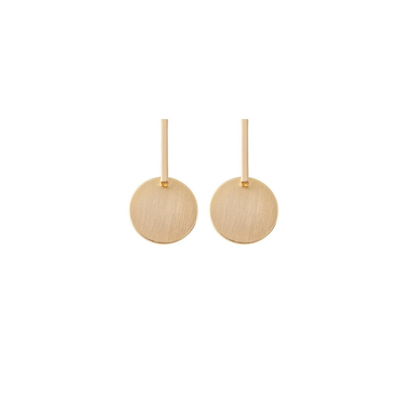 Amelie George Bridal's signature brushed gold disc is set on a drop bar allowing movement on these wedding earrings.