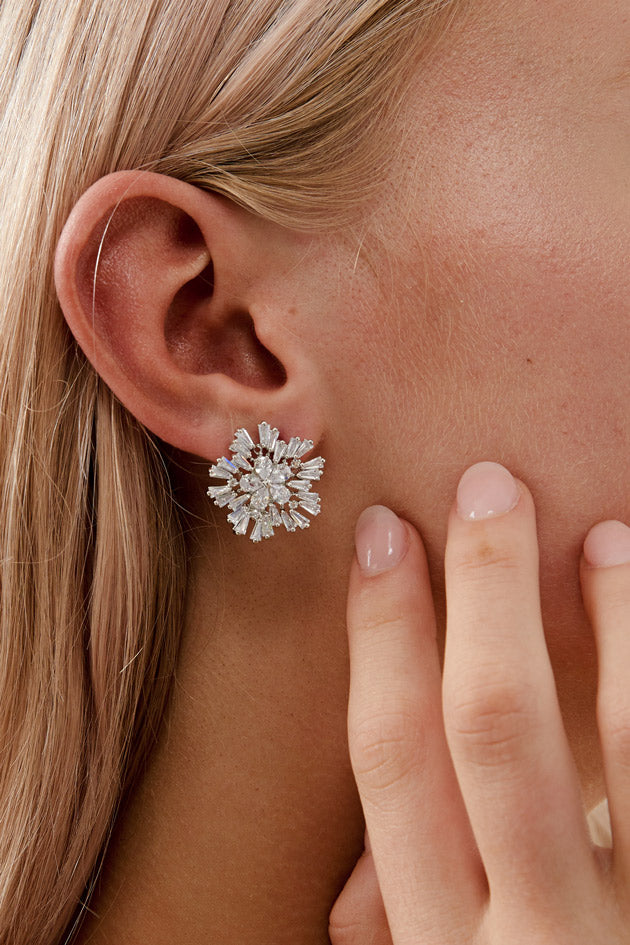 Big Stud Earrings For Wedding by Amelie George Bridal-Silver Modern Wedding Jewellery