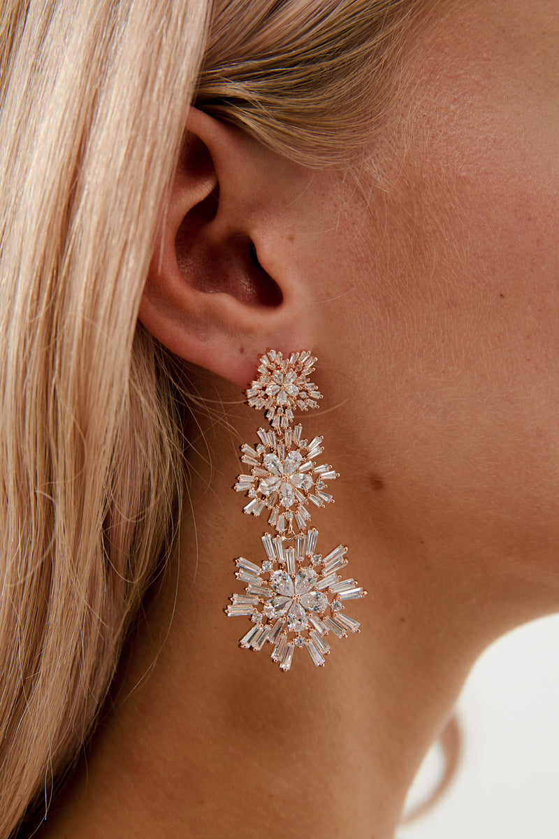 Big Wedding Earrings by Amelie George Bridal, Rose Gold Modern Wedding Jewellery