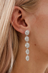 Bridal Floral Earrings by Amelie George Bridal-Silver Modern Wedding Jewellery