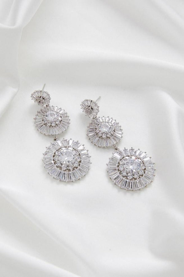Chandelier Earrings for Wedding Australia by Amelie George Bridal Silver