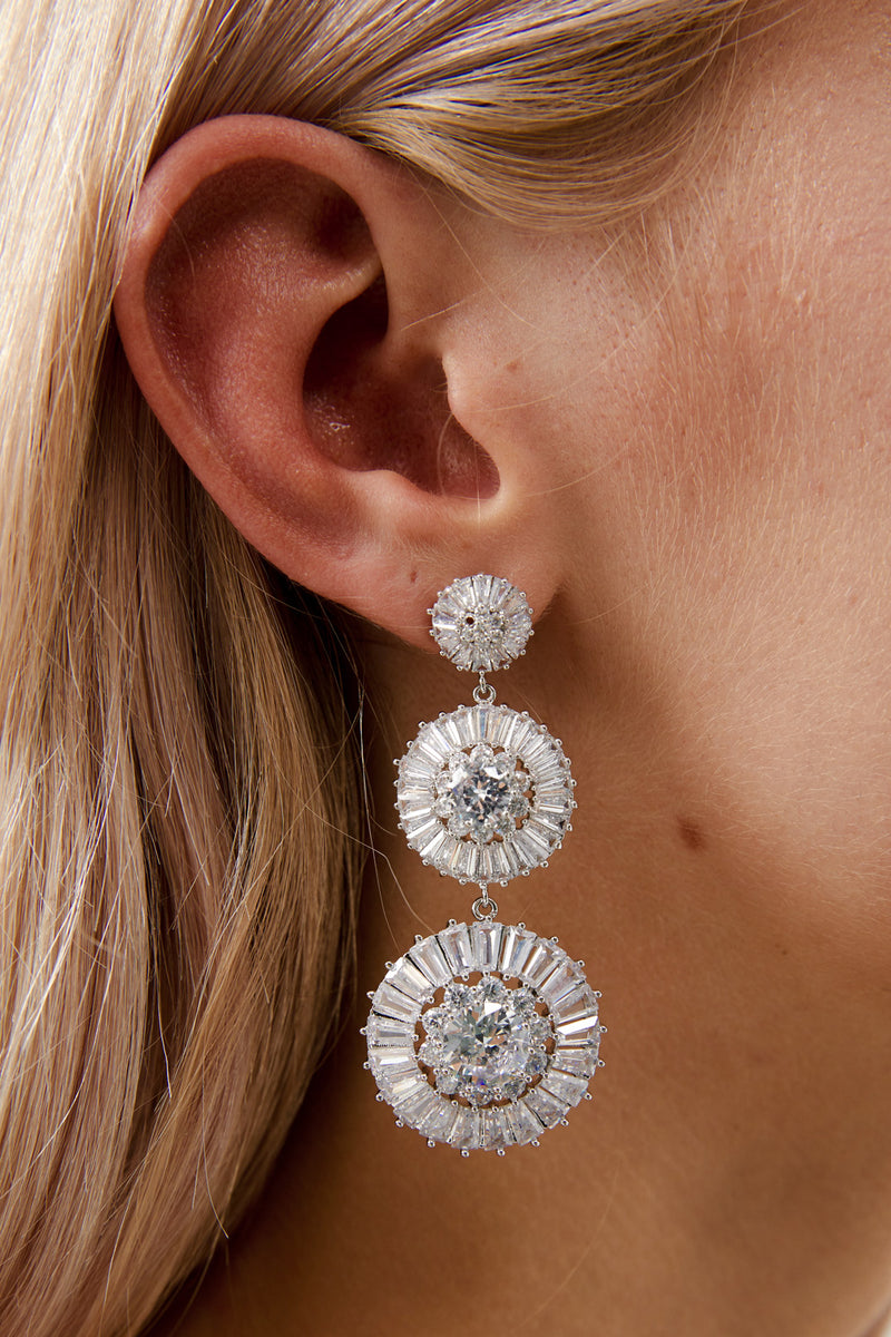 Crystal Drop Earrings Wedding by Amelie George Bridal- Silver Modern Wedding Jewellery
