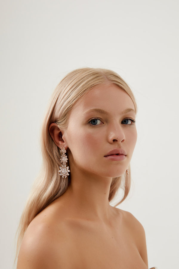 Crystal Earrings Wedding by Amelie George Bridal, Rose Gold Modern Wedding Jewellery