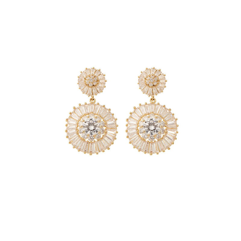 Diamond Drop Earrings Wedding by Amelie George Bridal Gold Modern Wedding Jewellery