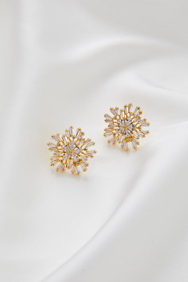 Diamond Stud Wedding Earrings by Amelie George Bridal-Gold Modern Wedding Jewellery