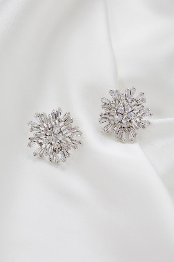 Diamond Stud Wedding Earrings by Amelie George Bridal-Silver Modern Wedding Jewellery