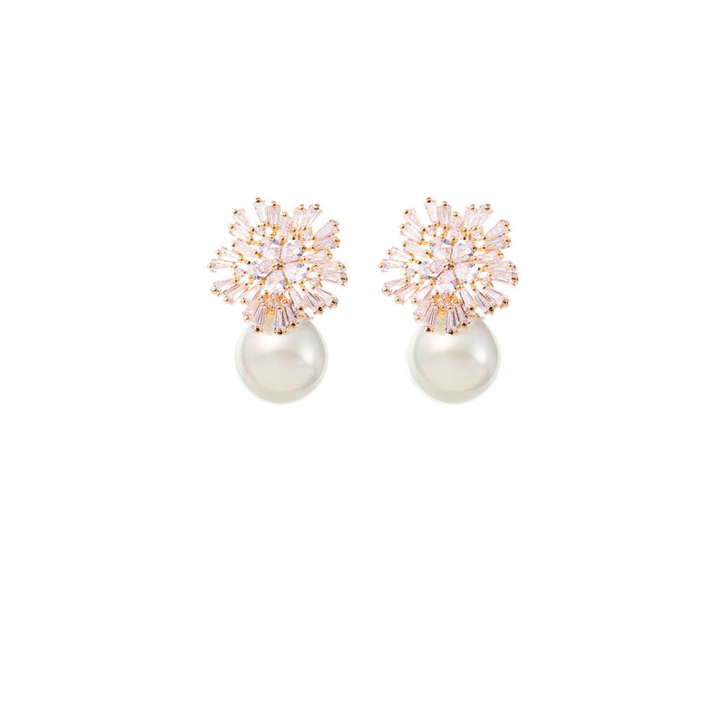 Diamond and Pearl Drop Earrings Wedding by Amelie George Bridal Rose Gold Modern Wedding Jewellery