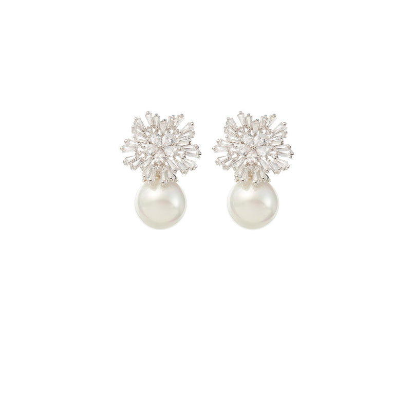 Diamond and Pearl Drop Earrings Wedding by Amelie George Bridal Silver Modern Wedding Jewellery