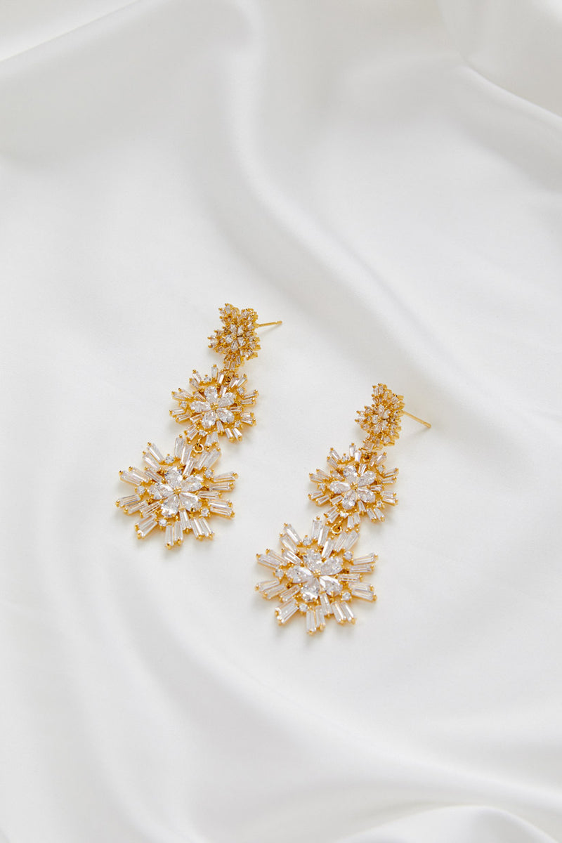 Earrings for Wedding Dress by Amelie George Bridal, Gold Modern Wedding Jewellery