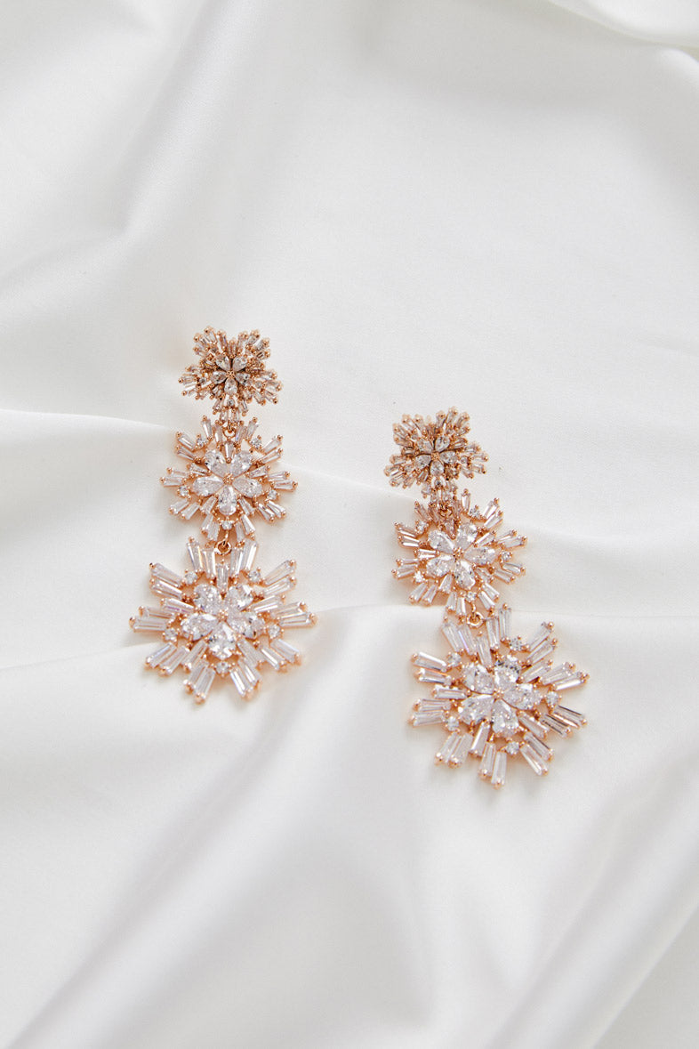 Earrings for Wedding Dress by Amelie George Bridal, Rose Gold Modern Wedding Jewellery
