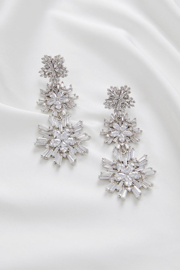 Earrings for Wedding Dress by Amelie George Bridal, Silver Modern Wedding Jewellery