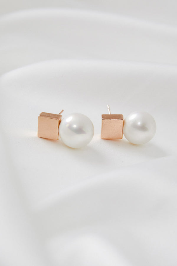 Earrings to wear with Lace Wedding Dress in Rose Gold by Amelie George Bridal