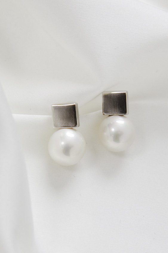 Earrings to wear with Lace Wedding Dress in Silver by Amelie George Bridal