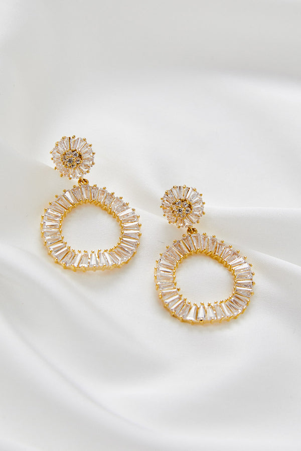 Gold Dangle Earrings For Wedding by Amelie George Bridal