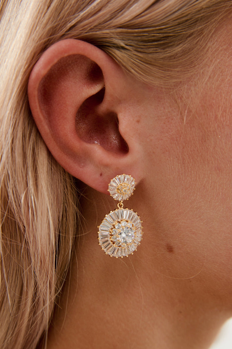 Gold Diamond Earrings by Amelie George Bridal