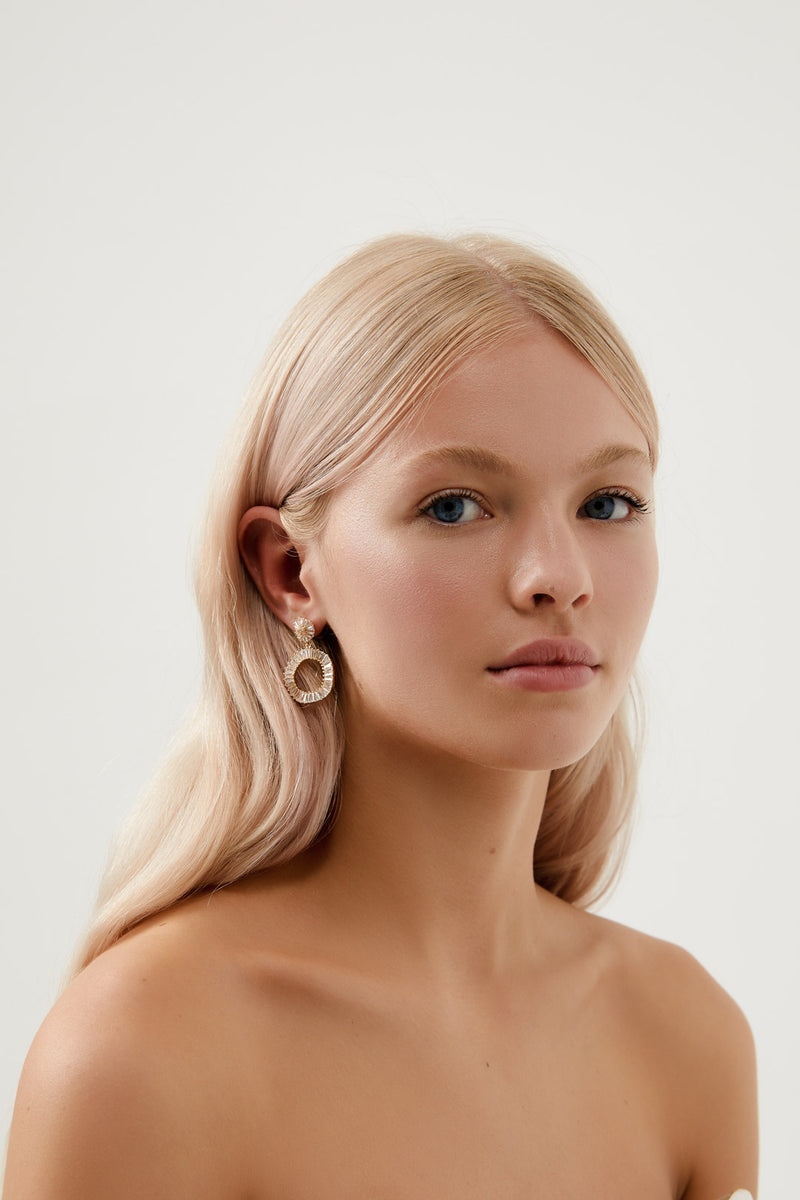 Gold Diamond Hoop Bridal Earrings, by Amelie George Bridal