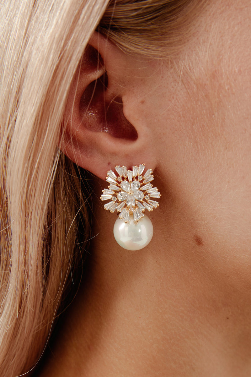 Gold Diamond Pearl Earrings by Amelie George Bridal