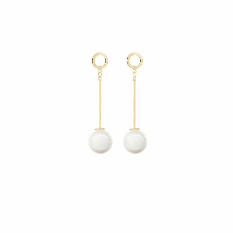 Gold Pearl Drop Earrings by Amelie George Bridal Modern Wedding Jewellery