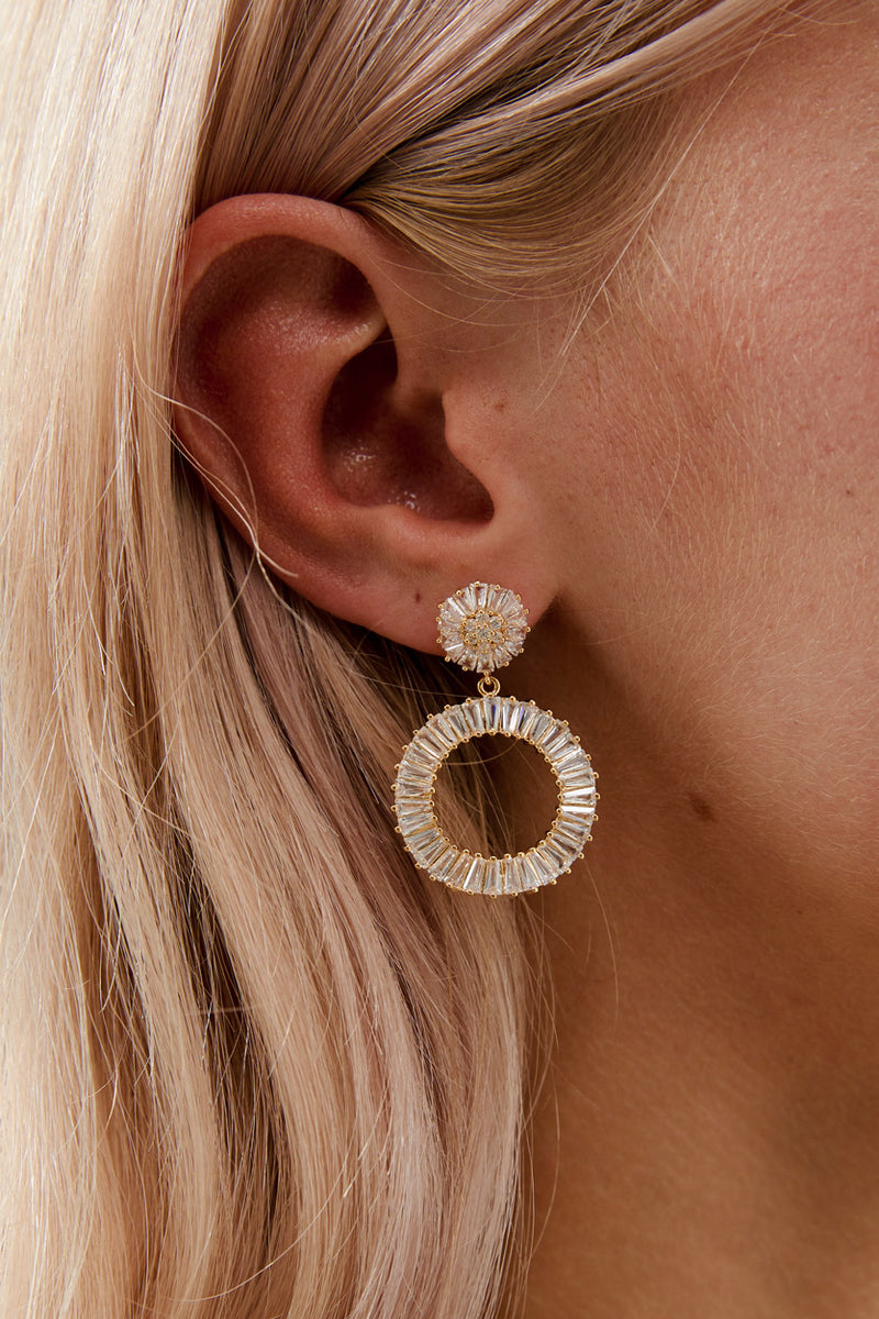 Gold Rhinestone Earrings for Wedding-Amelie George Bridal