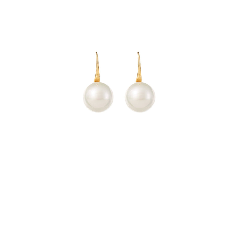 Gold Single Pearl Wedding Earrings by Amelie George Bridal