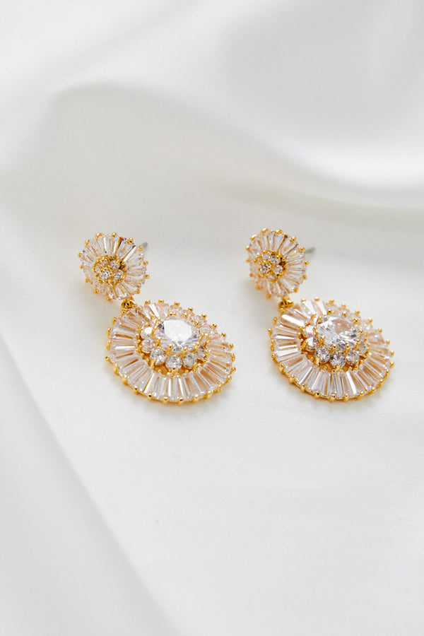 Gold Swarovski Wedding Earrings by Amelie George Bridal