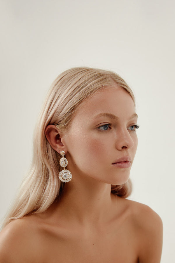 Gold Teardrop Earrings Wedding by Amelie George Bridal-Modern Wedding Jewelrey