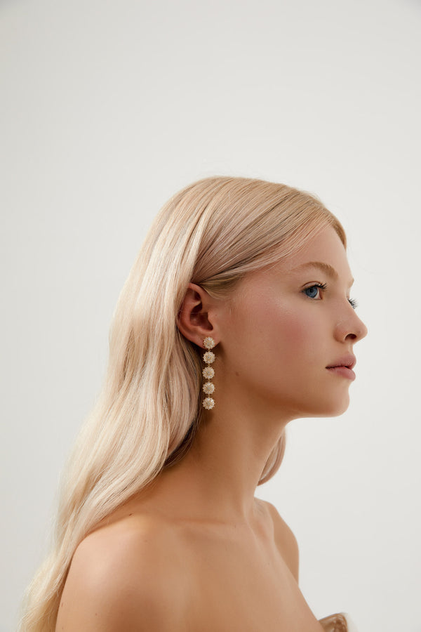 Long Diamond Earring Wedding by Amelie George Bridal-Gold Modern Wedding Jewellery