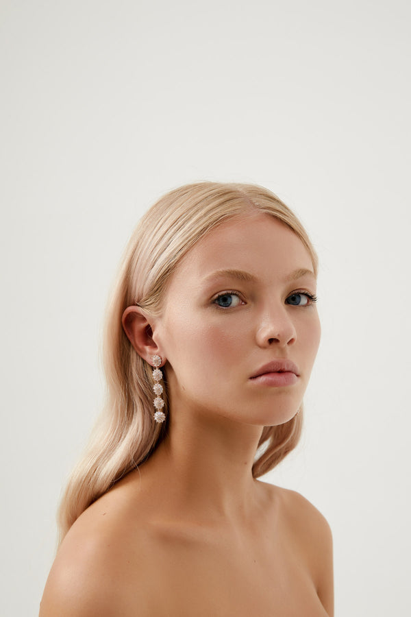 Long Diamond Earring Wedding by Amelie George Bridal-Rose Gold Modern Wedding Jewellery