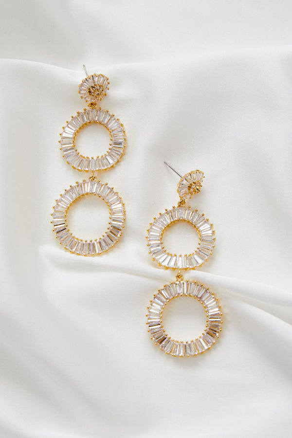 Long Gold Statement Bridal Earrings by Amelie George Bridal