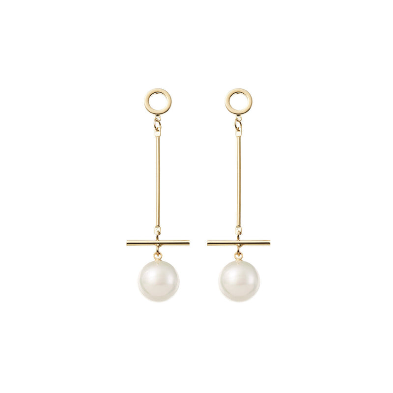 Long Pearl Wedding Earrings in Gold by Amelie George Bridal Modern Wedding Jewellery