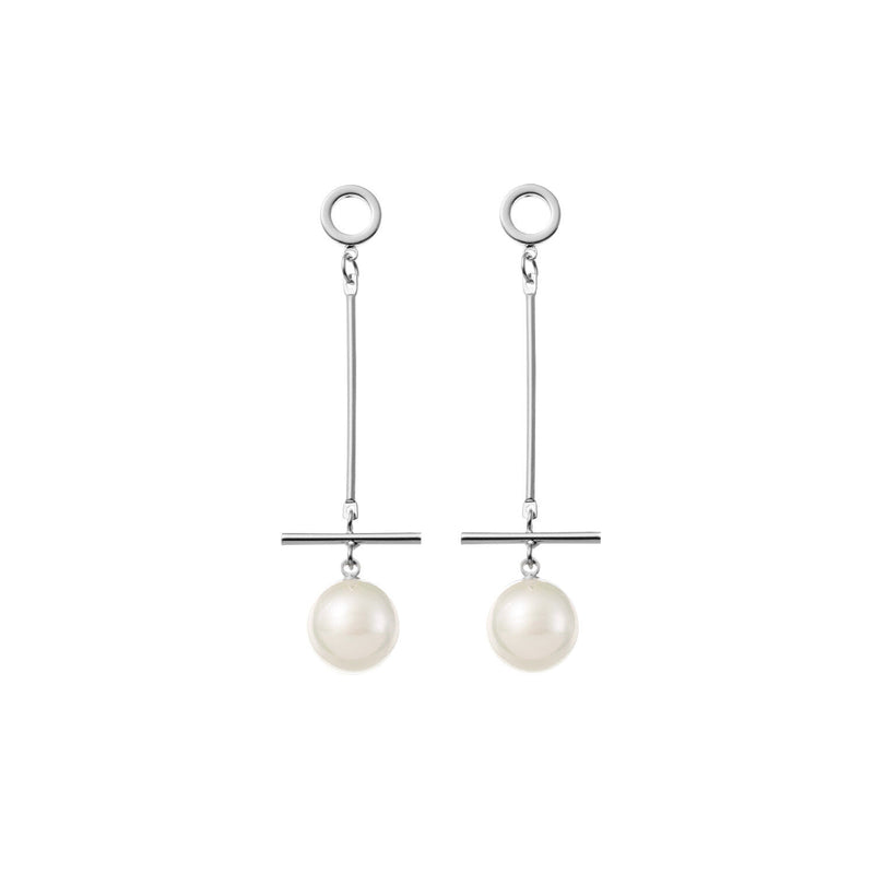 Long Pearl Wedding Earrings in Silver by Amelie George Bridal Modern Wedding Jewellery