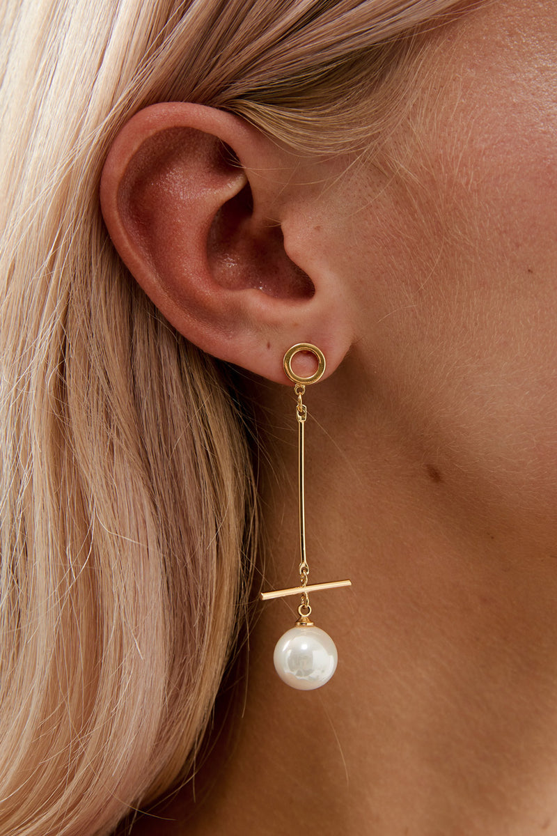 Long Wedding Earrings in Gold by Amelie George Bridal Modern Wedding Jewellery