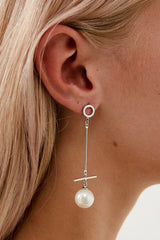 Long Wedding Earrings in White Gold by Amelie George Bridal Modern Wedding Jewellery