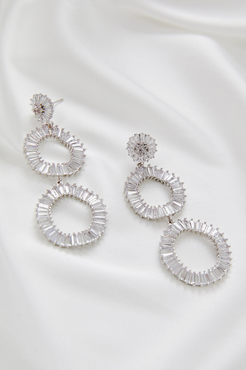 Long White Gold Modern Statement Bridal Earrings by Amelie George Bridal